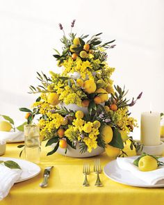 Centerpieces to match the citrus trees surrounding the ranch :)