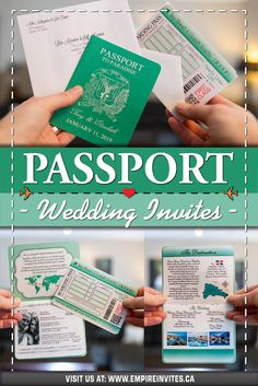 ☀️ Green passport wedding invitations for a destination wedding in Punta Cana! Wedding Invitations Canada, Passport Wedding Invitations, Wedding Invitation Design, Wedding Stationary, Cruise Ship Wedding, Punta Cana Wedding, Destination Wedding Inspiration, Wedding Abroad, Love Is In The Air