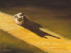 "Daily Paintworks - ""Original Cat Painting Feline Art Late Afternoon Sun by…"