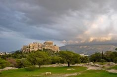 The Parthenon and cloudy skies