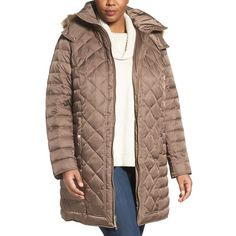 Plus Size Women's Kenneth Cole New York Faux Fur Trim Hooded Down &... ($100) ❤ liked on Polyvore featuring plus size women's fashion, plus size clothing, plus size outerwear, plus size coats, canyon, plus size, faux fur coat, plus size hooded coat, lightweight coat and hooded coat