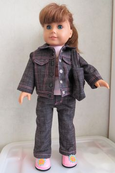 Dolly in her denim outfit.
