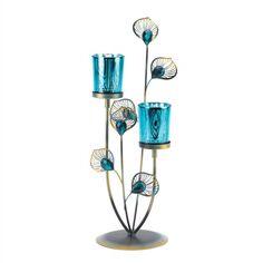 Peacock Plume Candleholder