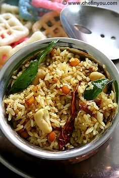 South Indian Tamarind Rice (Pulihora/Iyengar Puliyodharai) Recipe Chef In You Indian Food Recipes, Asian Recipes, Vegetarian Recipes, Cooking Recipes, Healthy Recipes, Ragi Recipes, Tamarindo, Tamarind Rice Recipes, Arroz Frito