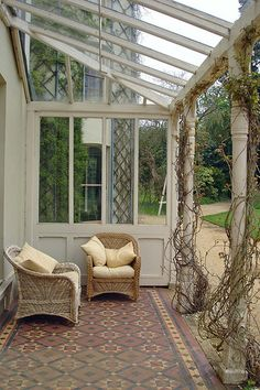 Victorian tiles like these wold look amazing in a small Victorian styled conservatory. English Heritage - Down House the Veranda. Pergola Patio, Gazebo, Backyard, Patio Canopy, Outdoor Rooms, Outdoor Living, Conservatory Flooring, Garden Room Extensions, Rustic Houses Exterior
