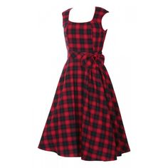 Harriet Vintage 50's Inspired Swing Dress in Red/Navy Blue Checks