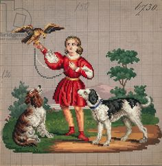 Young man with hawk and dog embroidery design, 19th century
