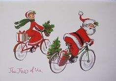 Vintage Christmas Card Santa Couple Deliver Gifts Bicycles Two Of Us Greeting