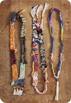 fiber-art woven and wrapped necklaces
