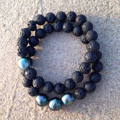 Tahitian pearls and volcanic lava rock beads are the perfect beach jewels! // pearl. love.