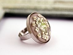 Ring with real dill flowers - silver grey color