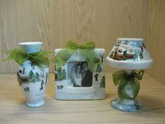 Ceramic Tea Light Votive Photo Frame Vase Winter Scene Green Bows Qty 3
