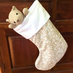 Elegant Ivory White & Gold Christmas Stocking, Quality Padded and Lined, 45cm Long by AeviternalCreations on Etsy