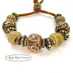 Natural Earthy Chunky Boho Bracelet Brown by RoughMagicCreations
