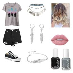 """""""Shorts"""" by lovepeacelove-723 ❤ liked on Polyvore featuring LC Trendz, Wet Seal, La Preciosa, Chan Luu, Converse, Lime Crime and Essie"""