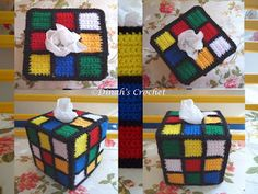 Dinah's Crochet: Crochet Rubik's Cube Tissue Box Cover Crochet Blanket Patterns, Amigurumi Patterns, Knitting Patterns, Plastic Canvas Tissue Boxes, Plastic Canvas Patterns, Crochet Home, Crochet Gifts, Crochet Toilet Roll Cover, Granny Square Projects