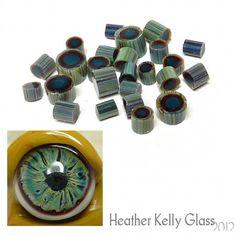 Gremlin Eye Murrini original - 104 coe green yellow blue lampwork art glass - GBUK SRA on Etsy, £5.00