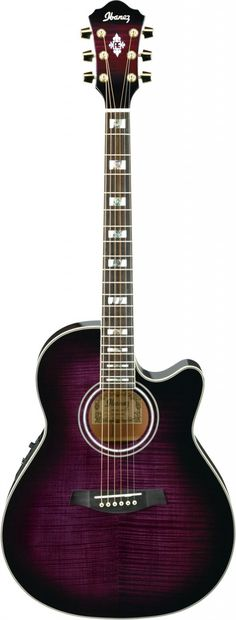 Ibanez acoustic/electric single-cutaway AEF30ETVS purple sunburst, quilted maple, spruce top, pearl block and abalone fretboard inlays.