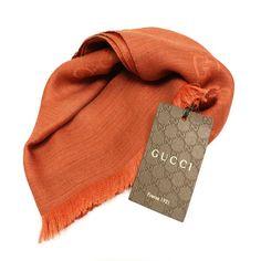 Gucci Unisex Orange Wool Cashmere and Silk Lightweight GG Logo Fashion  Scarf Gucci 362653 f64ec84591ed8