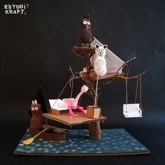 """Model about the book """"The tree house"""" / Maqueta interpretació del llibre """"La casa del árbol"""". Join us on www.facebook.com/estudikraft 12 Year Old, Art Lessons, Crafts For Kids, Workshop, Facebook, Projects, House, Color Art Lessons, Crafts For Children"""