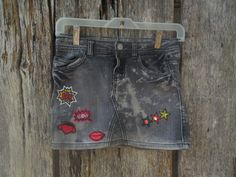 One of a kind custom bleached denim jean skirt faded by LoganBrook
