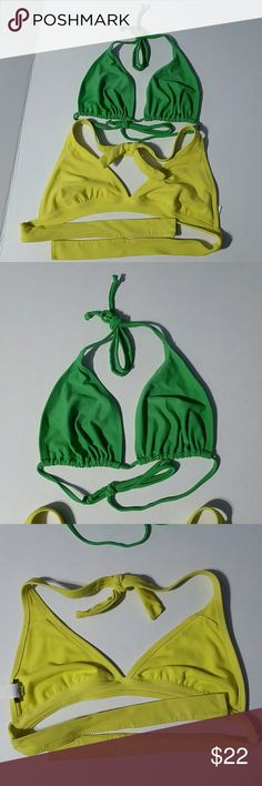 2 BIKINI TOPS YELLOW HALTER & KELLY GREEN STRING M OLD NAVY BUNDLE 2 BIKINI TOPS!  1.) SUNSHINE YELLOW HALTER BIKINI TOP. VGUC: Very Good Used Condition No liners, there are slits to put them in.The only wear is on the straps where you tie the bikini!  2.) KELLY GREEN STRING BIKINI TOP. VGUC: Very Good Used Condition. The only thing is: No liners, there are slits to put them in.   SHELL: 82% Nylon 12% Spandex LINING: 100% Polyester  No Smoking, Buy It Now, Bundle Discounts Available…