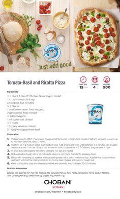 Handy dandy recipe card for Tomato-Basil and Ricotta Pizza, made with 0% Plain Chobani Greek yogurt. #justaddgood