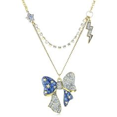 "Betsey Johnson ""Heaven's to Betsey"" Bow Pendant Necklace ($41) ❤ liked on Polyvore featuring jewelry, necklaces, bow necklace, pendant necklace, betsey johnson, bow jewelry and betsey johnson jewellery"