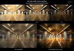 "This is the before-and-after comparison of ""The Tube (HDR)"". In the top row, you see the original source images straight out of the camera. This #image is based on a 3-shot #autobracketing series with 0, -2 and +2 ev. On the left side on the bottom row, you see the result of merging those shots into a 32-bit #HDR and subsequent tone-mapping using the detail enhancer option of #Photomatix Pro 4.0..."