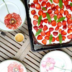 Erdbeer Brownie, Rezept, Mascarpone Creme, Sommerrezept, Backen