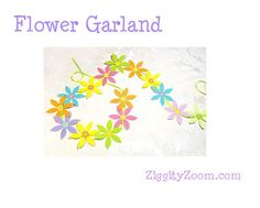 How to make a flower garland with paper flowers. Great for a summer birthday party.