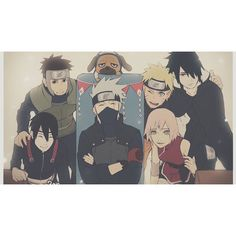 Sai, Yamato, Pakkun, Kakashi Natale, Naruto Uzumaki, Sasuke Uchiha e Sakura Haruno