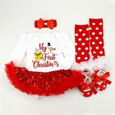 Baby Girl My 1st Christmas Body Diadema 3 piezas Little First Christmas 3PCS Outfits Set 0-18 Meses Falda a cuadros