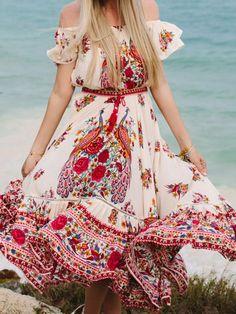 Pretty Bohemia Floral Off Shoulder Short Sleeve Beach Dress Maxi Dress – oshoplive