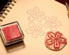 Sakura- Handmade Unmounted Rubber stamp by Inflatedegostudio, $5.00 USD