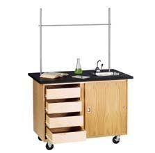 Mobile Demonstration Table with Drawers by Diversified Woodcrafts. $1254.95. Diversified Woodcrafts' Mobile Demo Table with Drawers can be used as a teaching station or a student science workstation. The durable ChemGuard high-pressure laminate work surface has a stainless steel sink with a hand pump. The lower cabinet has one storage compartment, four drawers mounted on nylon bearing glides, and sliding doors with locks. This mobile science station also features a GFI protecte...