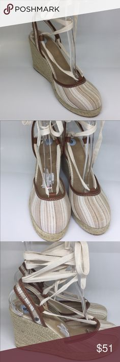"NWOB Tommy Bahama Wedges Tommy Bahama Closed Toe Espadrilles raffia wedge, contrast leather trim 4"" heel lace up closer closed toe fabric upper, leather trim, fabric lining Tommy Bahama Shoes Espadrilles"