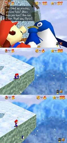 Did you ever do anything this horrible in #SuperMario64 on #Nintendo64 ?  Poor #Penguin :-(  Check out our Super Mario 64 page @ http://www.superluigibros.com/super-mario-64