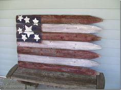 Easy DIY americana flag made from old stockade fence. SO easy!