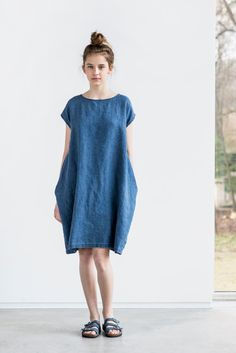 Denim color linen cocoon dress with short or by notPERFECTLINEN