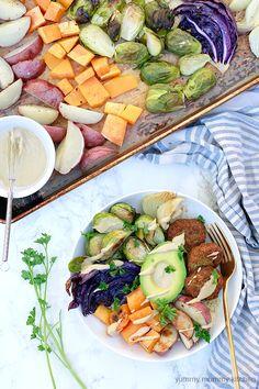 Sheet Pan Winter Vegetable Buddha Bowls with Falafel and Tahini Sauce
