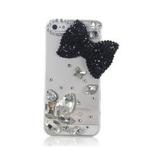 Black Clear Luxury Bling 3D Bow Crystal Diamond Rhinestone Case Cover... ($5.32) ❤ liked on Polyvore