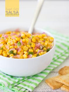 Sweet Corn Salsa... spicy, sweet, and perfect for summer! Tastes JUST like a famous Trader Joe's version
