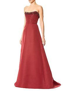 Carolina Herrera Embellished Silk Gown