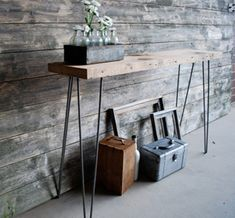 Mid Century Rustic Console Table, Reclaimed Wood Console Tables, Narrow Console Table, Sofa Table, End Tables Reclaimed Wood Side Table, Reclaimed Wood Furniture, Rustic Wood, Diy Furniture, Wood Sofa, Rustic Table, Rustic Feel, Rustic Industrial, Diy Table