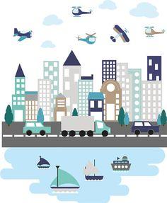 muur stickers / Kids muur stickers / stad decal / gebouwen
