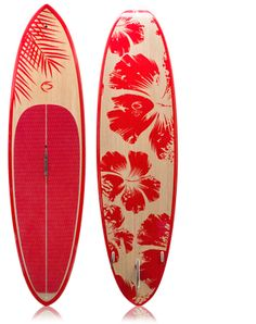 $1,099.00 -  Kai 10' Hibiscus Graphic  - This is a 10' paddleboard at only 21.4 lbs! Insanity. Stand up paddle the bays, rivers, lakes, and the surf with ease. Super flat mid bottom shape keeps volume in touch with the water (speed and stability), enabling a great flatwater paddle, while the sharper nose and tail rockers, rounded rails, and lighter weight foam make this paddle board easier to manuever in all types of surf.   DOES NOT SHIP TO AK.