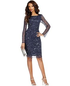 For my petite mother....... Patra Dress, Long-Sleeve Beaded Sequin - Mother of the Bride - Women - Macy's