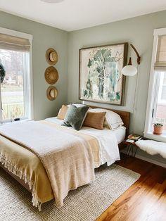 Room Ideas Bedroom, Home Bedroom, Bedroom Decor, Bedroom Rugs, Bedroom Furniture, Sage Green Bedroom, Green Bedroom Design, Green Bedrooms, Dream Rooms