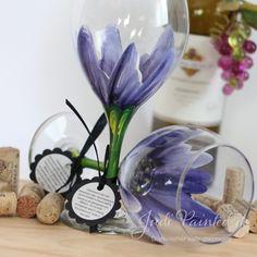 painted+flowers+wine+glasses   Diox Purple Wild Flower Wine Glass